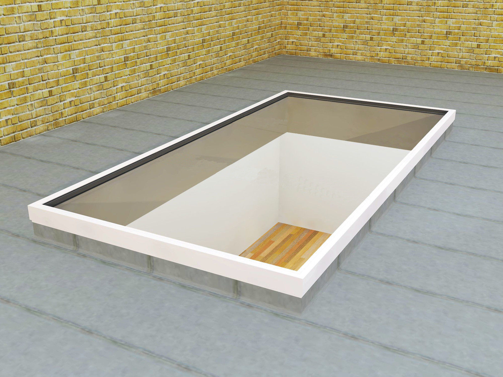 Slim White Low Lying Flat Aluminium Roof Lantern / Glass
